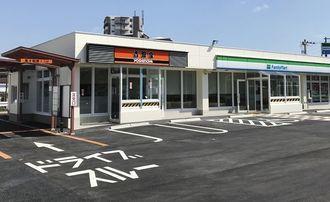 那覇市国場にオープンする沖縄ファミリーマートと沖縄吉野家の一体型店舗(沖縄ファミマ提供)