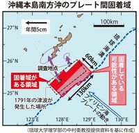巨大地震、沖縄でも可能性 本島南沖にプレート間「固着域」 琉大など発見