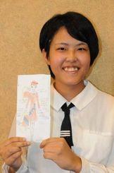 ミス宮古島の衣装デザインが選ばれた宮古工業高の田村美波さん