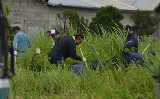 沿道沿いの草むらで遺棄事件の遺留品を捜索する沖縄県警の捜査員ら=うるま市塩屋