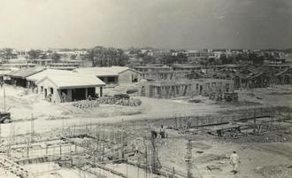 建設中の米軍住宅=1951~52年ごろ、嘉手納基地内