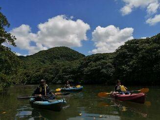 ヒナイ川でカヌーを楽しむ観光客=竹富町西表島