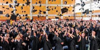 恒例のキャップ投げで互いの卒業を祝った名桜大卒業式 =9日、名護市・名桜大学