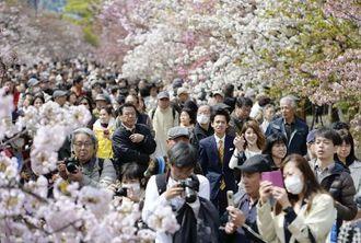 造幣局で始まった「桜の通り抜け」で、桜を楽しむ人たち=9日午前、大阪市