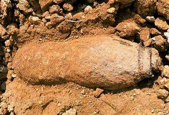 宮古空港近くで見つかった米国製250キロ爆弾の不発弾=宮古島市平良松原