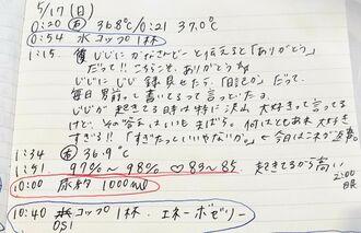 諸見里加菜子さんが祖父の体調や言葉のやり取りをつづる「じじ録」。摂取カロリーや血圧なども毎日、事細かに記録している(提供)