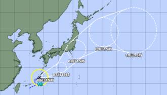 沖縄本島の近海で発生した台風10号の位置(気象庁のHPから引用)
