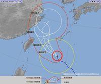 台風18号:宮古島地方に暴風警報
