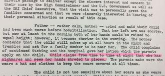 公文書資料の一部。事故当時9歳の女子児童の父親は1960年7月の聞き取りで「娘は、両手がばらばらになってちぎれる悪夢を見て夜中に時々叫び声を上げている」と証言した(赤い部分)