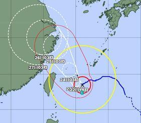 22日午前8時現在の台風6号の経路図(気象庁HPから)