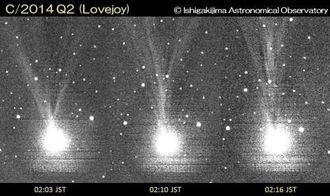 左右に分かれていた尾(左端)が一本に収束していった(右端)連続画像(石垣島天文台提供)