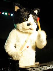 電子マリンバを軽快に演奏しながら歌うむぎ(猫)=那覇市・ジーシェルター