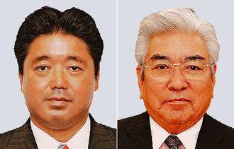 (左から)下地幹郎氏、儀間光男氏