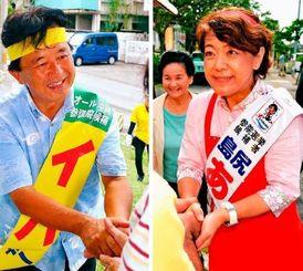 有権者と握手を交わす島尻安伊子氏(右)と伊波洋一氏