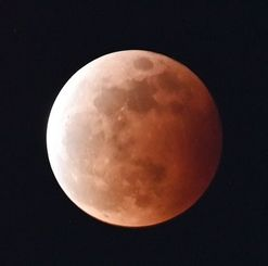 皆既食となって赤黒く染まった月=26日午後8時27分、豊見城市・とよみ大橋上空(金城健太撮影)