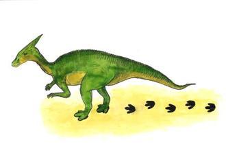 足跡を付けたとみられる大型鳥脚類恐竜の復元画(岡山理科大提供)