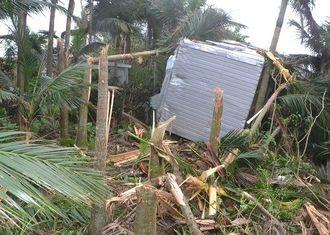 突風で約50メートル飛ばされ、ヤシ畑に突っ込んだコンテナ=石垣市大浜