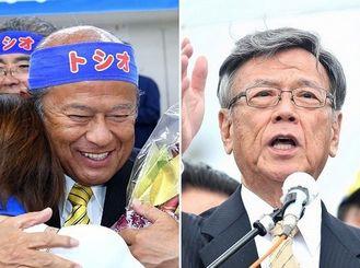 うるま市長選で当選した「チーム沖縄」の島袋俊夫氏(左)と、辺野古での集会で埋め立て承認撤回を明言する翁長知事