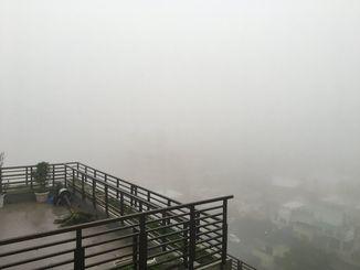 濃霧の発生で真っ白になった沖縄本島地方=4日午前7時、浦添市