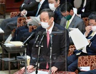 衆院予算委で答弁する菅首相=2日午前