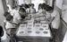 聖火リレーに向け、休み時間を利用して、日の丸の小旗作りに取り組む小学生=1964年9月4日、那覇市・城岳小学校