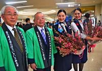 岡山から沖縄に届く、桃の切り花 JTA直行便に感謝