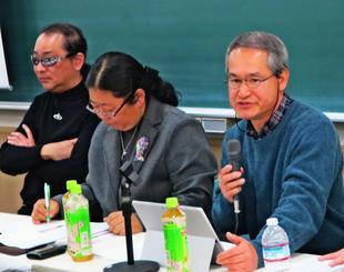 沖縄を含め島しょ地域の生態系を守るため、外来種の問題点を指摘するパネリストら=25日、東京都・中央大学駿河台記念館