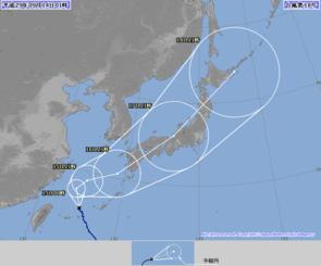 台風18号の進路予想図・5日予報(気象庁HPより)