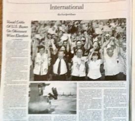 玉城氏の当選を伝えるニューヨーク・タイムズ紙