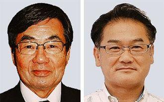 (左から)稲嶺進名護市長、佐喜真淳宜野湾市長