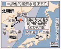 北朝鮮、短距離ミサイル/日本海に3発 米韓演習に対抗か