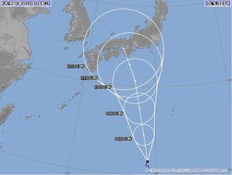 7日午前3時現在の台風18号の進路予想図