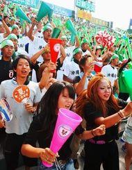 選手たちへ声援を送るアルプスの応援団(大野亨恭撮影)