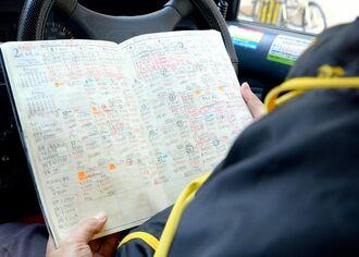 毎日の営業記録を手帳に記している。4月に入り、売上が半分以下まで減ったという=10日、那覇市内