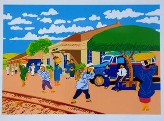 与那原駅舎付近の様子を描いた絵