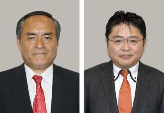 社民党の吉田忠智幹事長(左)、吉川元・副党首