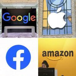 GAFAと呼ばれる米国のグーグル、アップル、フェイスブック、アマゾン・コム各社のロゴマーク(共同)