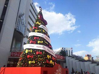 那覇市・パレットくもじ前。クリスマスツリーと青空。