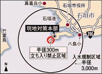 不発弾処理現場と入水制限・立入禁止水域