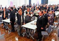 社民県連旗開き 選挙勝利へ気勢/衆院補選と参院選