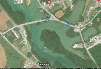 宮古島市伊良部の国仲橋周辺の地図(Googleマップより)