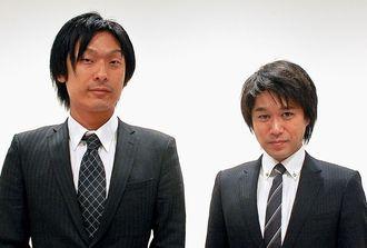 マネ育セミナーをPRする小野誠治室長(左)と平良淳和氏=24日、沖縄タイムス社