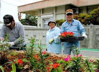 「花いっぱいの島に」と作業に精をだす村老人クラブ会員=3月31日、伊江村