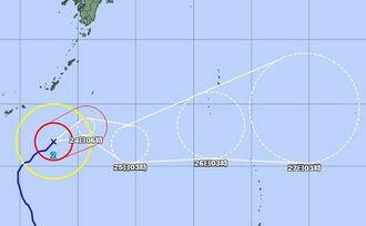 台風2号の進路図(気象庁HPから)