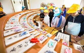 全日空機と航空自衛隊訓練機の衝突事故から50年となり、慰霊堂の展示を見学する小学生=30日午前、岩手県雫石町