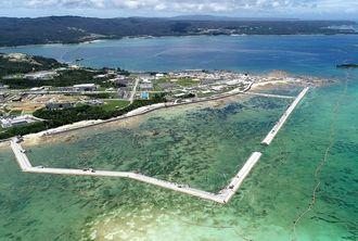 新基地建設が進むキャンプ・シュワブ沿岸=6月29日、名護市辺野古、米軍キャンプ・シュワブ(小型無人機で撮影)