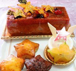 スターフルーツを使った「ケーキの店・デュゥオ」のケーキ(上、右下)や昨年発売の洋菓子ゆめかなえぼし(左下)