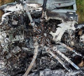 炎上した米軍CH53Eヘリの回転翼中心部付近=14日午後、東村(小型無人機から)