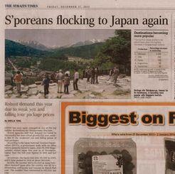 「シンガポール人が再び日本に押し寄せている」の見出しで報道する現地新聞=日本政府観光局提供