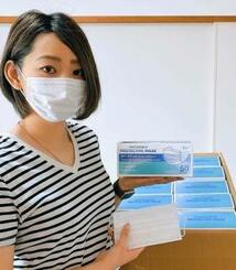 地元の母校3校にマスク計6千枚を贈呈した宜野湾市出身の志村早紀さん(提供)